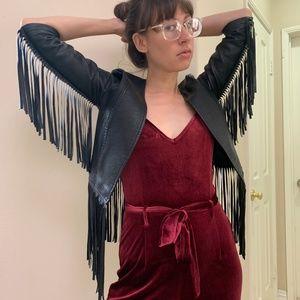 Vtg Faux Leather FRINGE Wings 3/4 Crop Jacket xs